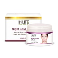 INLIFE Natural Night Gold Cream, 50gm, Skin Whitening, Anti aging for Men, Women