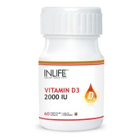 INLIFE Vitamin D3 (Cholecalciferol), 2000 IU, 60 Capsules For Bone Health