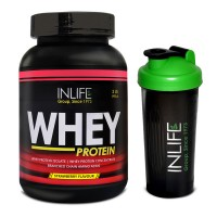 INLIFE Whey Protein Powder 2 lbs (Strawberry Flavour) Body Building Supplement