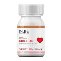 INLIFE Krill Oil 500mg Omega 3 Essential Fatty Acid With EPA DHA, 30 Capsules