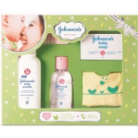 Johnson & Johnson Baby Care Collection With Organic Cotton Bib And Baby Comb (5 Gift Items, Green)