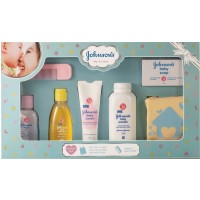 Johnson & Johnson Baby Care Collection With Organic Cotton Baby Tshirt (7 Gift Items, Blue)