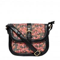 Joker & Witch - Floral Black Canvas Sling Bag