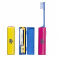 Kent Foldable Travel Toothbrush With Travel Toothpaste (Pink)