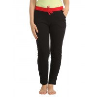 Clovia Cotton Full Length Yoga Pants - Black