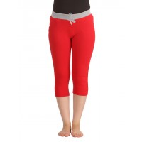 Clovia Cotton Yoga Capri - Red