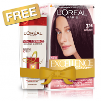 L'Oreal Paris Excellence Creme Hair Color - 3.16 Burgundy + Free Total Repair 5 Shampoo