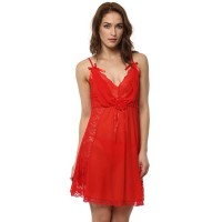 Blush Lacy Babydoll  - Red (Free Size)