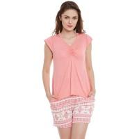 Clovia Set Of Cotton Top & Printed Shorts - Pink