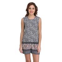Clovia Crepe Printed Top & Shorts Set - Blue