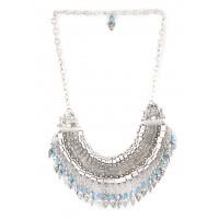 The Blur Store Silver Blue Arrow Necklace