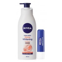 Nivea Extra Whitening Cell Repair SPF 15 Body Lotion + Free Essential Lip Care Lip Balm