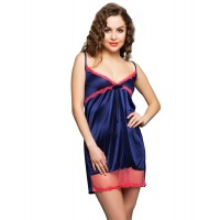 Clovia Short Nighty In Navy with Hot PInk Lace