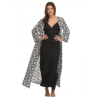 Clovia Long Nighty With Printed Robe - Black