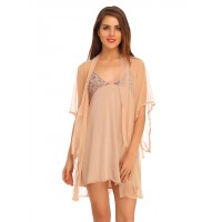 Clovia Short Nighty With Mesh Lacy Robe - Beige