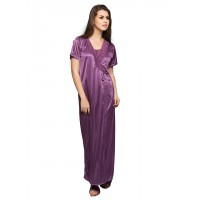 Clovia SatIn Robe In Purple (Onesize)