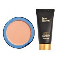 Blue Heaven Silk On Face Compact - Blush & Tube Foundation Natural Combo