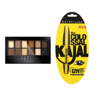 Maybelline New York The Nudes Eyeshadow Palette + Free Maybelline The Colossal Kajal