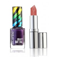 Colorbar Diamond Shine Lipstick - Rose Golden & Metal Nail Laquer- Emerald Heights Combo