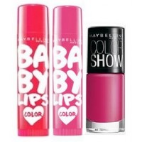 Maybelline New York Baby Lips Balm Berry Crush + Cherry Kiss With Free Color Show Nail Lacquer - Hooked On Pink