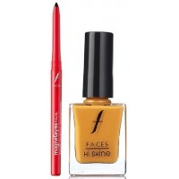 Faces Magneteyes Kajal - Lasts All Day - Black + Hi Shine Nail Enamel - Sweet Apricot