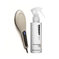 Toni&Guy Heat Protection Mist : High Temperature Protection + Corioliss 3 in 1 Digital Heated Hot Brush - Grey