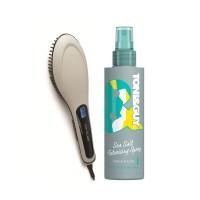 Toni&Guy Limited Edition Casual Sea Salt Texturising Spray + Corioliss 3 in 1 Digital Heated Hot Brush - Grey