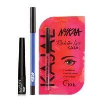 Nykaa GLAMOReyes Eye Pencil - Blue Hex 01 + Rock The Line Kajal + Black Magic Liquid Eyeliner - Super Black 01