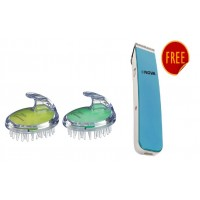 Kent Shampoo Brush Combo Pack - Green & Lime +  Free Nova Nht 1045 Cordless Trimmer (Blue)