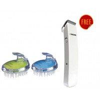 Kent Shampoo Brush Combo Pack - Blue & Lime +  Free Nova Nht 1045 Cordless Trimmer (White)