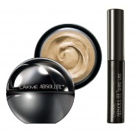 Lakme Absolute Mattreal Skin Natural SPF 8 Mousse - Ivory Fair + Lakme Absolute Shine Liquid Eye Liner - Black