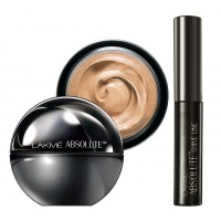 Lakme Absolute Mattreal Skin Natural SPF 8 Mousse - Golden Medium + Lakme Absolute Shine Liquid Eye Liner - Black
