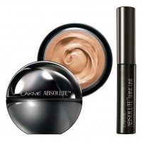 Lakme Absolute Mattreal Skin Natural Mousse 16hr - Beige Honey + Lakme Absolute Shine Liquid Eye Liner - Black