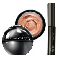 Lakme Absolute Mattreal Skin Natural Mousse 16hr - Rose Fair + Lakme Absolute Shine Liquid Eye Liner - Black