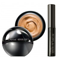 Lakme Absolute Mattreal Skin Natural Mousse 16hr - Golden Light + Lakme Absolute Shine Liquid Eye Liner - Black