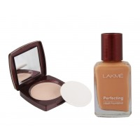 Lakme Radiance Complexion Compact - Marble + Lakme Perfecting Liquid Foundation - Shell