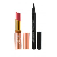 Lakme 9 To 5 Crease-less Creme Lipstick - CP1 Rosy + Lakme Absolute Precision Liquid Liner