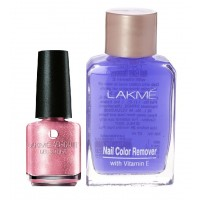 Lakme Absolute Gel Stylist Nail Polish - Pink Diamond + Lakme Nail Colour Remover With Vitamin E