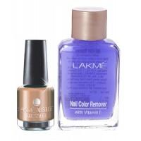 Lakme Absolute Gel Stylist Nail Polish - Caramel Melt + Lakme Nail Colour Remover With Vitamin E