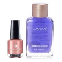Lakme Absolute Gel Stylist Nail Polish - Gold Dust + Lakme Nail Colour Remover With Vitamin E