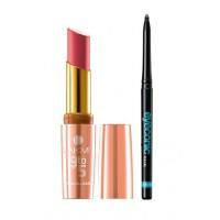 Lakme 9 To 5 Crease-less Creme Lipstick - CP1 Rosy + Lakme Eyeconic Kajal - Black