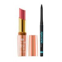 Lakme 9 To 5 Crease-less Creme Lipstick - CP3 Coral Case + Lakme Eyeconic Kajal - Black