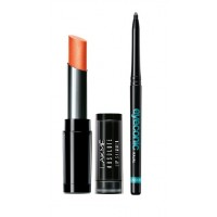 Lakme Absolute Illuminating Lip Shimmer - Orange Glitz + Lakme Eyeconic Kajal - Black