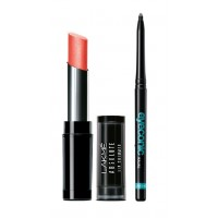 Lakme Absolute Illuminating Lip Shimmer - Tinsel Peach + Lakme Eyeconic Kajal - Black