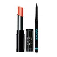 Lakme Absolute Illuminating Lip Shimmer - Scarlet Magic + Lakme Eyeconic Kajal - Black