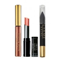 Lakme Jewel Sindoor - Maroon + Lakme Absolute Illuminating Lip Shimmer - Copper Spark + Lakme Kajal - Black