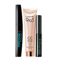 Lakme CC Face Cream - Beige + Eyeconic Curling Mascara + Free Shine Line Eyeliner - Full Size Tester