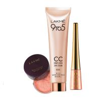 Lakme CC Face Cream - Beige + Pink Rose Powder + Free Impact Eyeliner - Full Size Tester