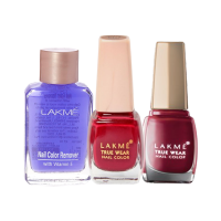 Lakme True Wear Nail Color Shade 404 + Shade 401 + Free Nail Color Remover - Full Size Tester