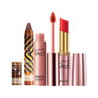 Lakme Masaba Lip Color - Caramel Toffee + Primer + Matte Lip Color - Red Coat + Free 9 to 5 Lip & Cheek - Full Size Tester